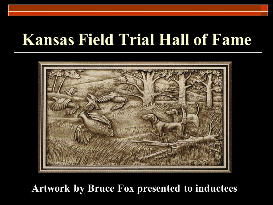 Kansas Field Trial Hall of Fame Nomination Process for 2013 March 23 2013.