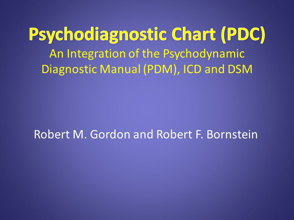 Goal of the PDC To offer a person-based nosology by integrating the PDM, ICD and DSM for: 1.better diagnoses, 2.treatment formulations, 3.progress reports, 4.outcome assessment, 5.research on personality and psychopathology.