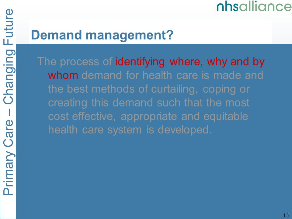 Primary Care – Changing Future 14 Demand management.