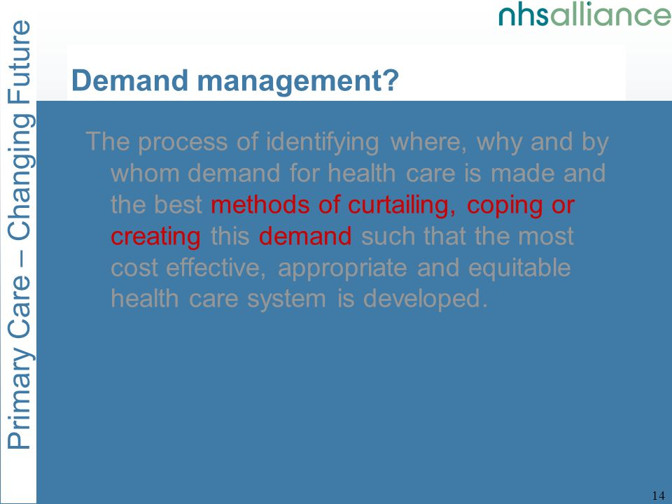 Primary Care – Changing Future 15 Demand management.