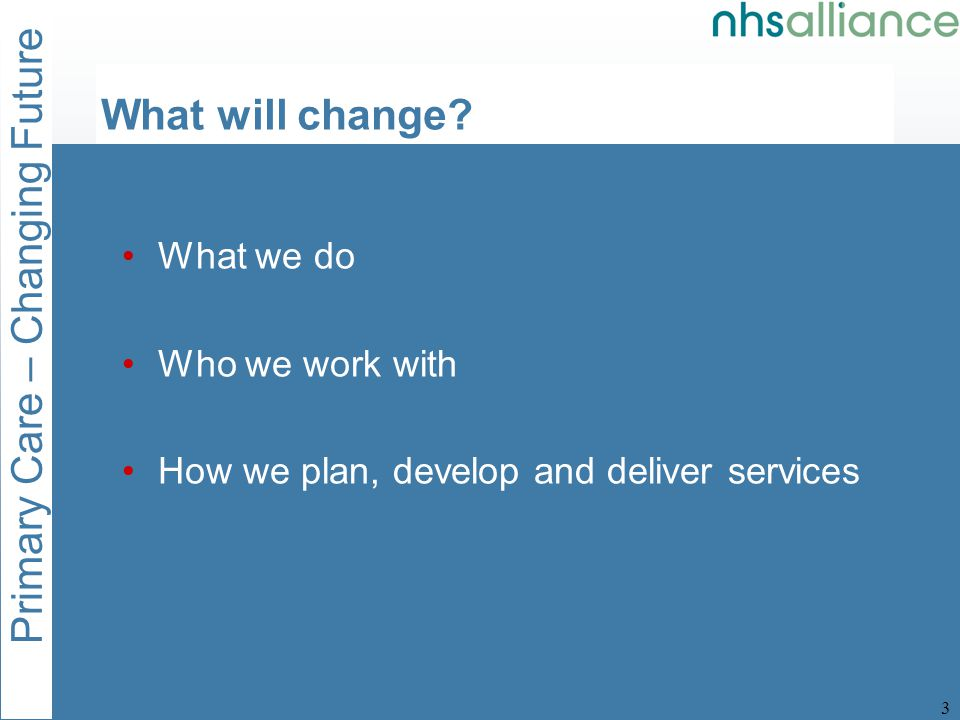 Primary Care – Changing Future 4 What will change.