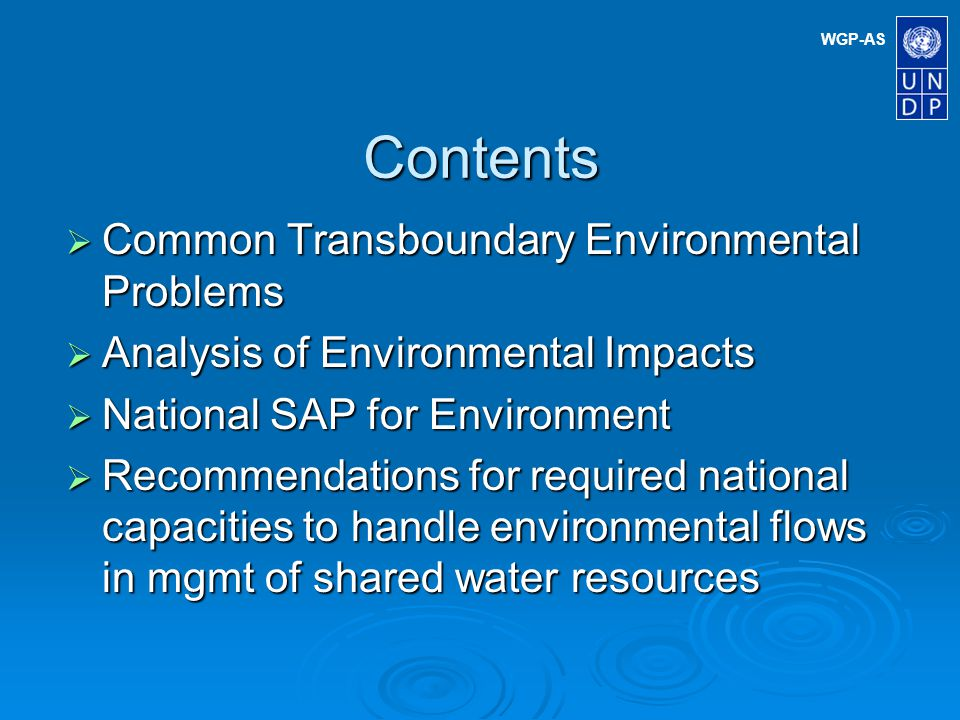 WGP-AS Fact Water scarcity in the Arab region, coupled with the level and pace of socio-economic advancement in several countries has important implications for the efficacy with which legislature and institutional regimes are developed and applied for the promotion of environmental joint management of shared water resources.