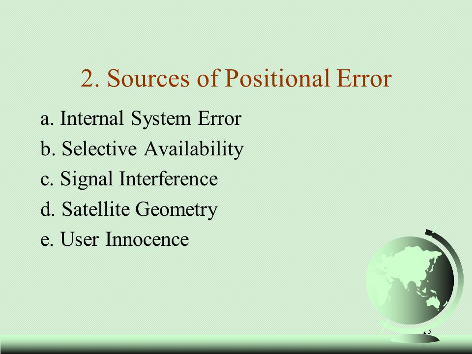 14 2.Sources of Positional Error a.