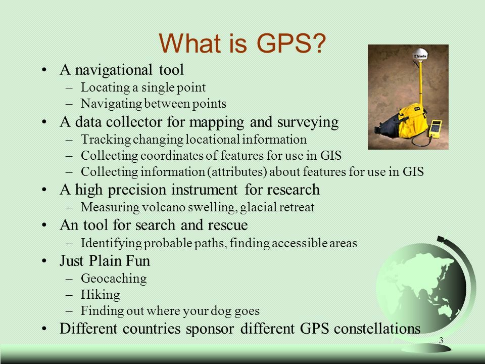 4 How GPS Works GPS works by triangulating your position on the earth, based on satellite signals There are four components: –Satellites –Signals –Receivers –Mathematics