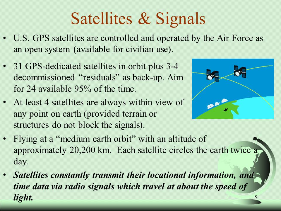 6 Receivers & Mathematics The receiver picks up the signal from the satellites Determines how long the signal took to reach the receivers location (by comparing time stamp for when the signal was sent from the satellite with the receivers record for when it was received) Calculates the distance to the satellite (speed x time = distance)