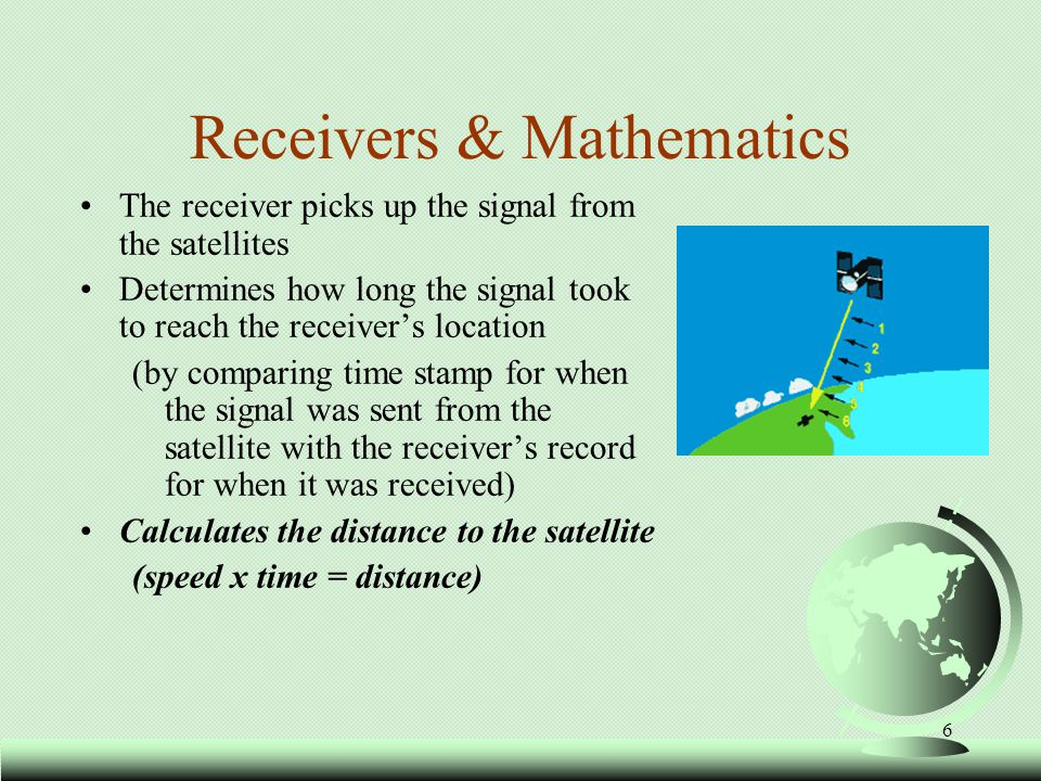 7 Time * Speed = Distance The amount of Time the signal spent traveling (k) multiplied by the Speed at which it traveled (speed of light) = the Distance between the satellite and the receiver.
