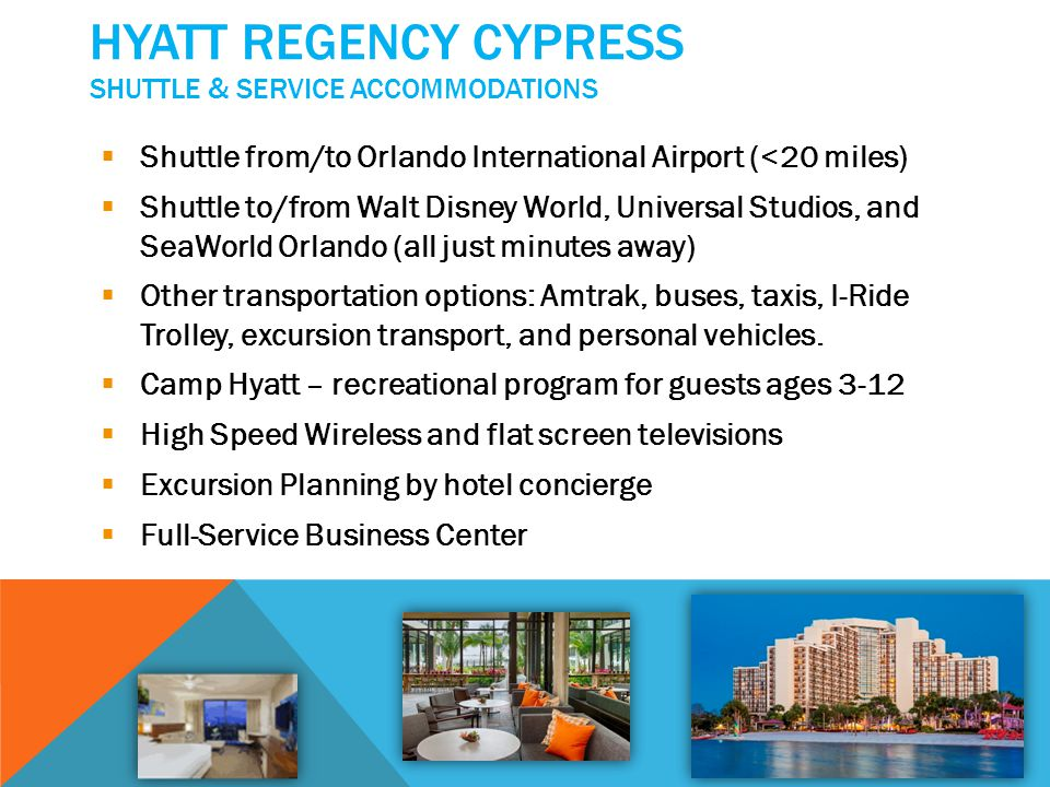 HYATT REGENCY CYPRESS IN-HOUSE AMENITIES Signature pool, calming whirlpools, waterslides, waterfalls, water sports, and volleyball Sandy beaches, hammocks, jogging and bike paths Jack Nicklaus Signature Golf - 18 holes, reminiscent of the old course at St.