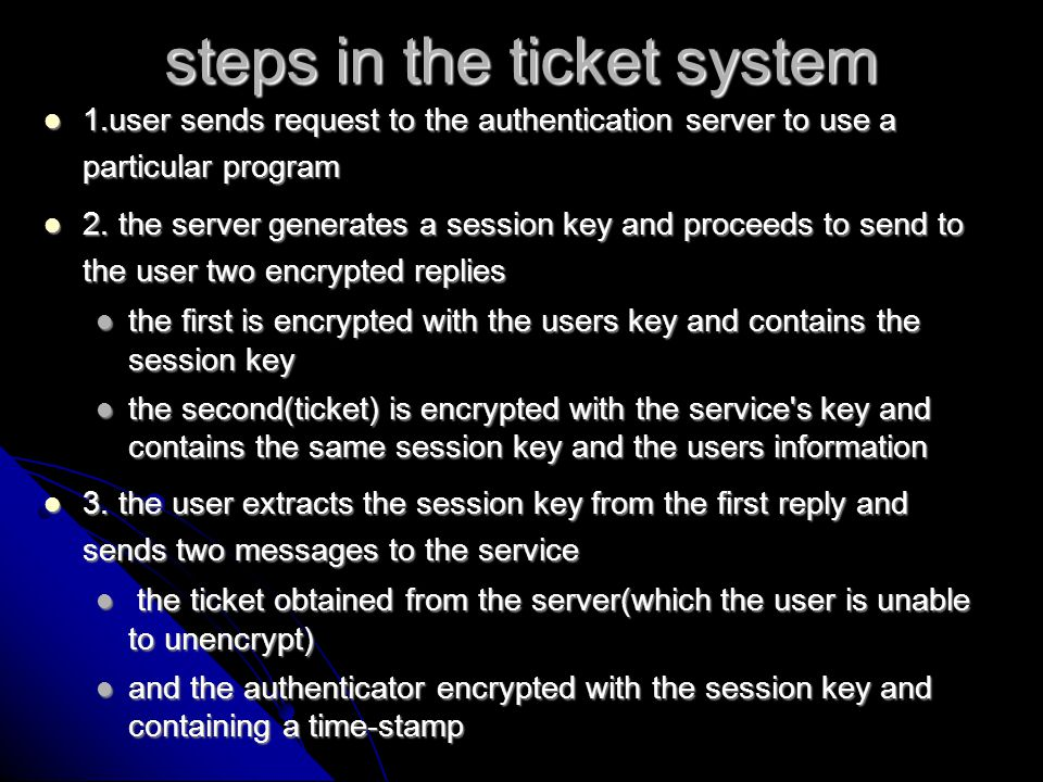 the TGT if that sounded in any way insecure there is an extra step of security involved which Needham and Schroeder called the KDC if that sounded in any way insecure there is an extra step of security involved which Needham and Schroeder called the KDC in the first step rather then obtaining the ticket from the authentication server, the user obtains a ticket granting ticket(TGT) in the first step rather then obtaining the ticket from the authentication server, the user obtains a ticket granting ticket(TGT) the ticket granting server and authentication server are collectively referred to as the KDC the ticket granting server and authentication server are collectively referred to as the KDC steps involved: steps involved: user rather then using his secret key to decrypt the first reply from the AS for each ticket, he/she does so once for the TGT.