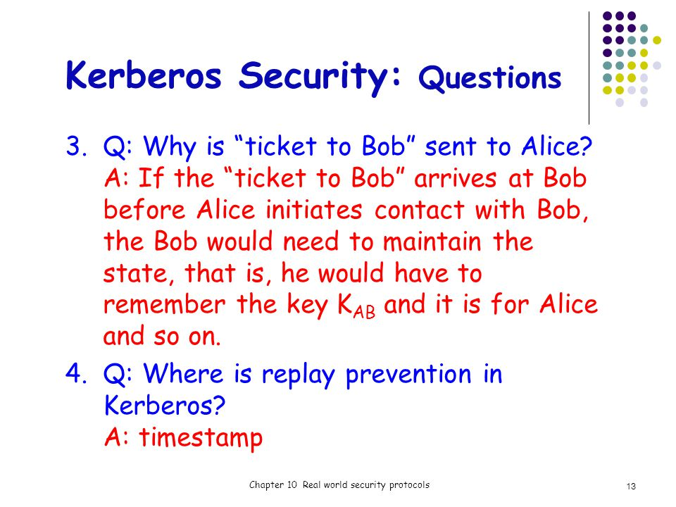 Kerberos Security: Questions 3.Q: Why is ticket to Bob sent to Alice.