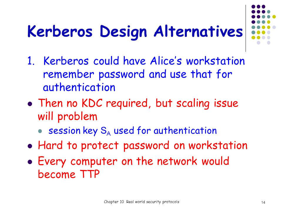 Kerberos Design Alternatives 1.Kerberos could have Alices workstation remember password and use that for authentication Then no KDC required, but scaling issue will problem session key S A used for authentication Hard to protect password on workstation Every computer on the network would become TTP Chapter 10 Real world security protocols 14