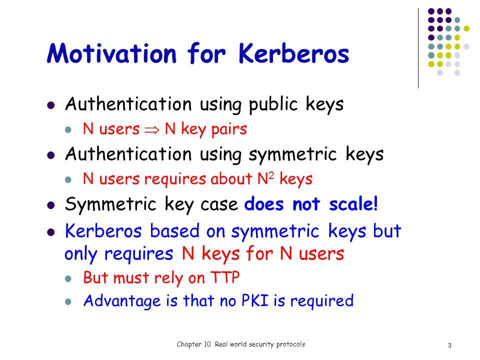 Motivation for Kerberos Authentication using public keys N users N key pairs Authentication using symmetric keys N users requires about N 2 keys Symmetric key case does not scale.