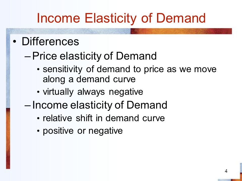 5 Cross-Price Elasticity of Demand Percentage change in quantity demanded of one good (x) caused by a 1% change in the price of another good (y) Substitutes: E xy >0 Complements: E xy <0