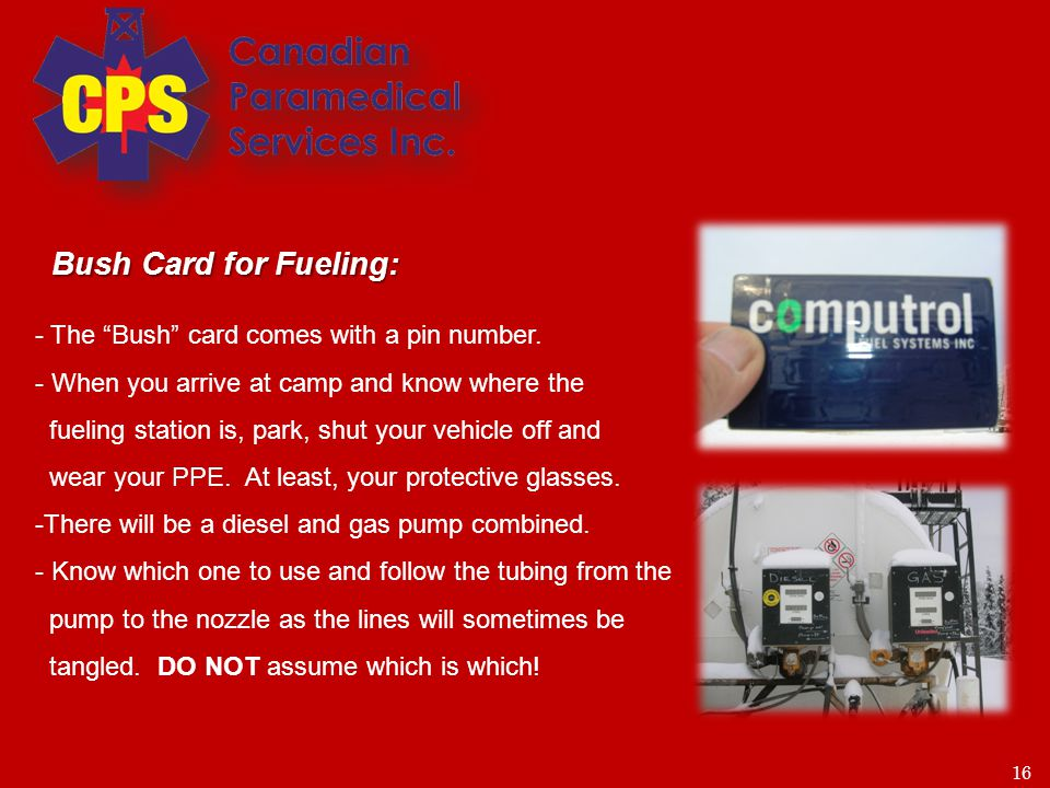 17 - Make sure the power box at the fueling station is turned to on - Hold the back of the card up to the pin pad screen – do not swipe it.
