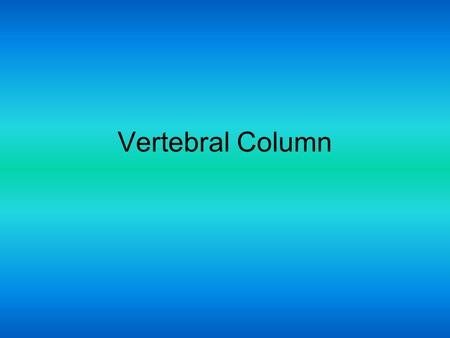 Vertebral Column. Part of the axial skeleton Consists of 26 irregular bones 24 vertebrae, sacrum, coccyx Vertebral column divisions –Cervical C1-C7 –Thoracic.