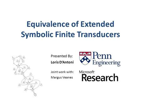 Equivalence of Extended Symbolic Finite Transducers Presented By: Loris D'Antoni Joint work with: Margus Veanes.
