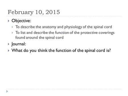 February 10, 2015  Objective:  To describe the anatomy and physiology of the spinal cord  To list and describe the function of the protective coverings.