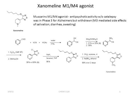 1 Xanomeline M1/M4 agonist Muscarinc M1/M4 agonist - antipsychotic activity w/o catalepsy was in Phase 3 for Alzheimers but withdrawn (M3 mediated side.