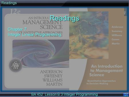 BA 452 Lesson B.3 Integer Programming 11ReadingsReadings Chapter 7 Integer Linear Programming.
