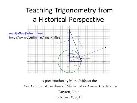 Teaching Trigonometry from a Historical Perspective A presentation by Mark Jaffee at the Ohio Council of Teachers of Mathematics Annual Conference Dayton,