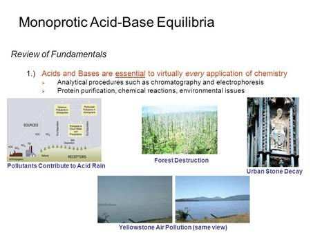 Monoprotic Acid-Base Equilibria Review of Fundamentals 1.)Acids and Bases are essential to virtually every application of chemistry  Analytical procedures.
