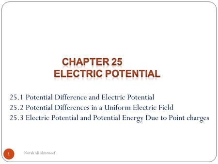 Chapter 25 Electric Potential