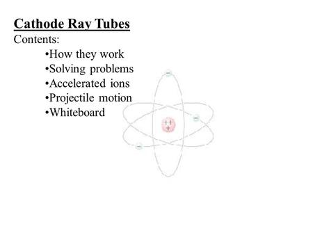 Cathode Ray Tubes Contents: How they work Solving problems Accelerated ions Projectile motion Whiteboard.