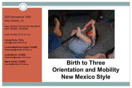 Birth to Three Orientation and Mobility New Mexico Style AER International O&M New Orleans, LA New Mexico School for the Blind and Visually Impaired www.nmsbvi.k12.nm.us.