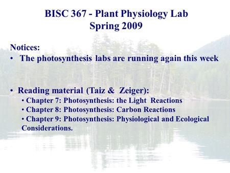 Plant Biology Fall 2006 BISC 367 - Plant Physiology Lab Spring 2009 Notices: The photosynthesis labs are running again this week Reading material (Taiz.