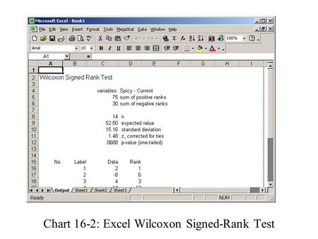 Enter dataClick MegaStat Click Nonparametric Tests Click Wilcoxon Signed-Rank Test Input Column A data in Group 1 Input Column B data in Group 2 Select.