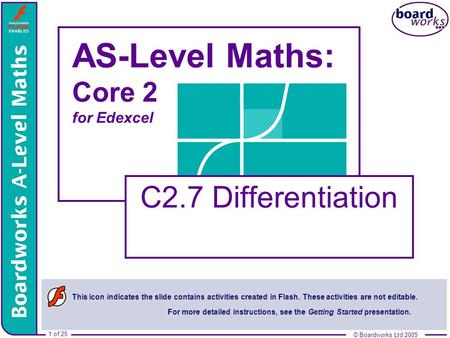 © Boardworks Ltd 2005 1 of 25 © Boardworks Ltd 2005 1 of 25 AS-Level Maths: Core 2 for Edexcel C2.7 Differentiation This icon indicates the slide contains.