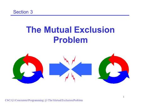 CSC321 Concurrent Programming: §3 The Mutual Exclusion Problem 1 Section 3 The Mutual Exclusion Problem.