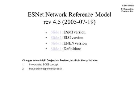ESNet Network Reference Model rev 4.5 (2005-07-19) Slide 1: ESMI versionSlide 1 Slide 2: EISI versionSlide 2 Slide 3: ENEN versionSlide 3 Slide 4: DefinitionsSlide.