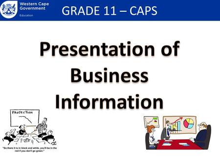 GRADE 11 – CAPS. Presentation and validation (support) of business-related information in verbal and non-verbal format (including tables, graphs, diagrams.