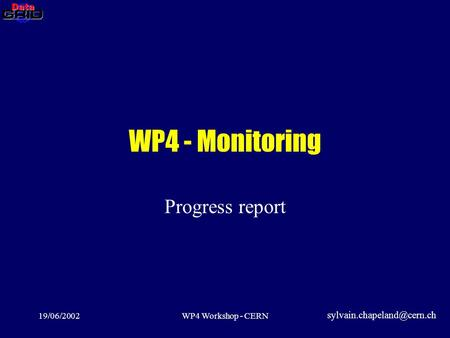 19/06/2002WP4 Workshop - CERN WP4 - Monitoring Progress report