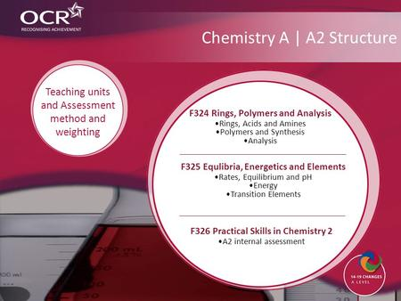Chemistry A | A2 Structure F326 Practical Skills in Chemistry 2 A2 internal assessment Teaching units and Assessment method and weighting F324 Rings, Polymers.