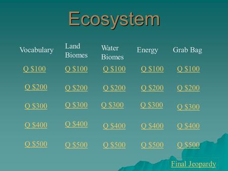 Ecosystem Vocabulary Land Biomes Water Biomes EnergyGrab Bag Q $100 Q $200 Q $300 Q $400 Q $500 Q $100 Q $200 Q $300 Q $400 Q $500 Final Jeopardy.