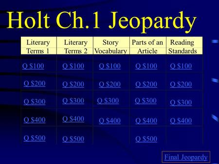 Holt Ch.1 Jeopardy Literary Terms 1 Literary Terms 2 Story Vocabulary Parts of an Article Reading Standards Q $100 Q $200 Q $300 Q $400 Q $500 Q $100.