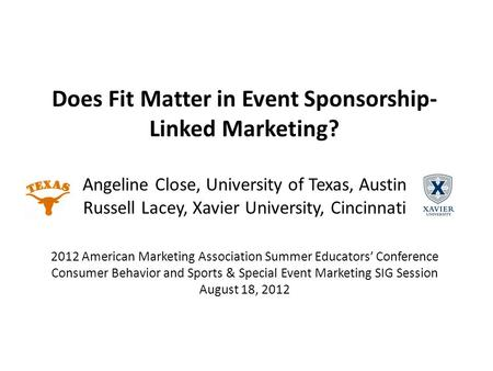 Does Fit Matter in Event Sponsorship- Linked Marketing? Angeline Close, University of Texas, Austin Russell Lacey, Xavier University, Cincinnati 2012 American.