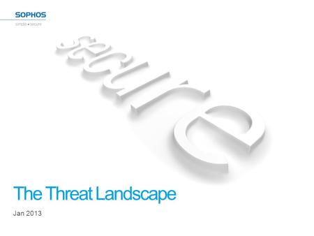 The Threat Landscape Jan 2013. 2013 Threat Report 2.