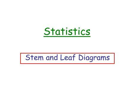 Statistics Stem and Leaf Diagrams A 10 Question Warm Up…