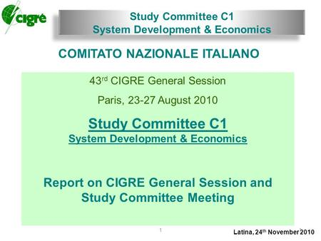 Study Committee C1 System Development & Economics Latina, 24 th November 2010 11 COMITATO NAZIONALE ITALIANO 43 rd CIGRE General Session Paris, 23-27 August.