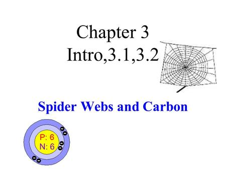 Chapter 3 Intro,3.1,3.2 Spider Webs and Carbon. Orb-Weaving Spider Web Contains carbon.