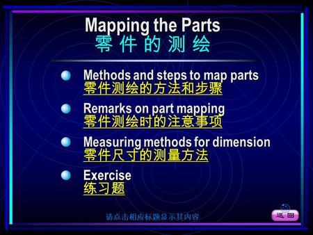 Mapping the Parts Mapping the Parts 零 件 的 测 绘 零 件 的 测 绘 Methods and steps to map parts 零件测绘的方法和步骤 Remarks on part mapping 零件测绘时的注意事项 Measuring methods.