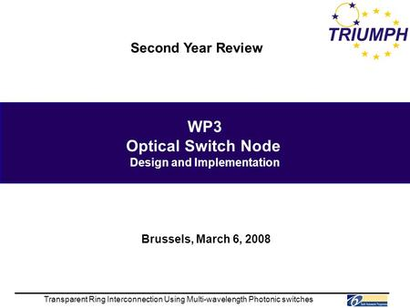 WP3 Optical Switch Node Design and Implementation Transparent Ring Interconnection Using Multi-wavelength Photonic switches Second Year Review Brussels,