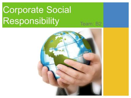 Corporate Social Responsibility Team: B2. Agenda 1.Strategy 2.Introduction 3.Common CSR initiatives 4.Strategic CSR principles 5.CSR categories Social.