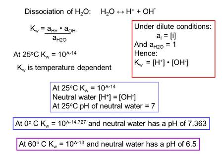 Dissociation of H 2 O:H 2 O ↔ H + + OH - K w = a H+ a OH- a H2O Under dilute conditions: a i = [i] And a H2O = 1 Hence: K w = [H + ] [OH - ] At 25 o C.