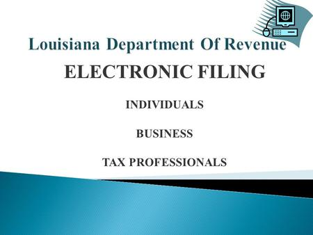 ELECTRONIC FILING INDIVIDUALS BUSINESS TAX PROFESSIONALS.