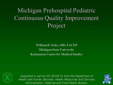 Michigan Prehospital Pediatric Continuous Quality Improvement Project William D. Fales, MD, FACEP Michigan State University Kalamazoo Center for Medical.
