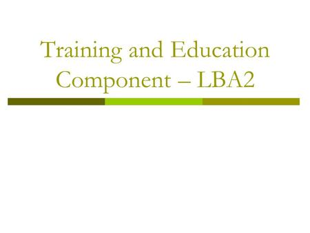 Training and Education Component – LBA2. Challenges  How to define a new T& E program for the LBA2? Important to define: 1. timeline for research activities: