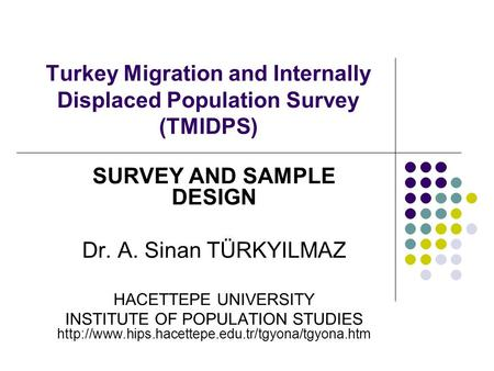 Turkey Migration and Internally Displaced Population Survey (TMIDPS) SURVEY AND SAMPLE DESIGN Dr. A. Sinan TÜRKYILMAZ HACETTEPE UNIVERSITY INSTITUTE OF.